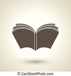 retro style open book icon isolated on brown background
