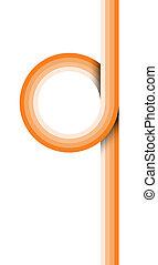 Retro style orange loop graphic element with shadow.