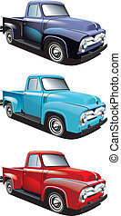 Vectorial icon set of American retro pickups, executed in three colour versions and isolated on white backgrounds. Every pickup is in separate layers. File contains gradients and blends.