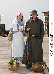 Retro style picture with nurse and soldier