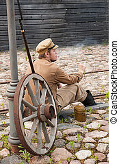 Retro style picture with resting soldier. - Soldier in...