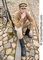 Retro style picture with smoking soldier. - Soldier in...