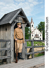 Retro style picture with soldier at sentry. - The soldier...