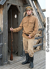 Retro style picture with soldier at sentry. - Soldier with a...