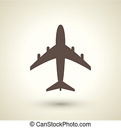 retro style plane icon isolated on brown background