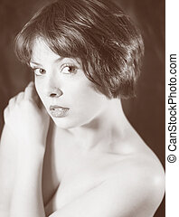 Retro style portrait of beautiful woman