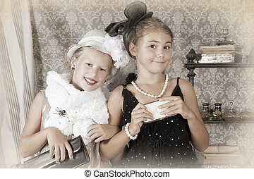 Retro style portrait of two little girls