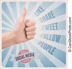Retro style poster with hand showing thumb up gesture surrounded with keywords on social media theme