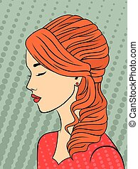 Retro style red-haired girl - Dreamy red-haired young girl...