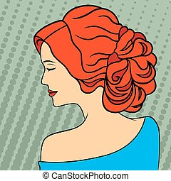 Retro style red-haired women - Red-haired women with closed...