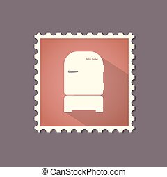 Retro style refrigerator flat stamp with shadow.