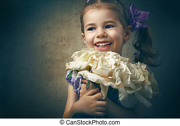 retro photo of girl and flowers