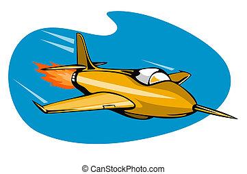 Retro style rocket ship - Artwork on air travel