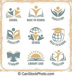 Retro style school logos - Retro style back to school logos...