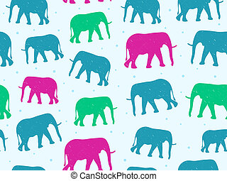 Retro Style Seamless Pattern with Elephant