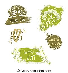 Retro style set of bio, organic, gluten free, eco, healthy food labels. Logo templates with floral and vintage elements for meal and drink, cafe, restaurants or organic products packaging