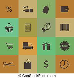 Retro style Shopping icons set vector set.
