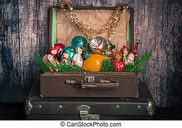 Retro Style Suitcases with Christmas Tree Decorations
