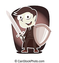 Retro style super businessman with sword and shield