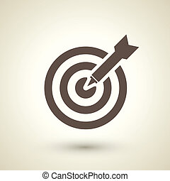 retro style target with dart icon isolated on brown...