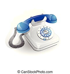 Retro style telephone with wire connection isolated on white background vector illustration