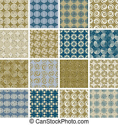 Retro style tiles seamless patterns set, vector backgrounds, col