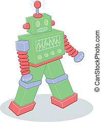 Retro style toy robot illustration