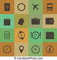 Retro style Travel Icons vector set.