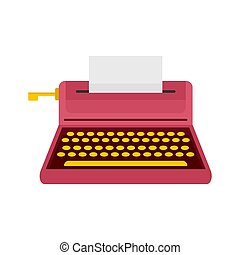 Retro style typewriter icon, flat style