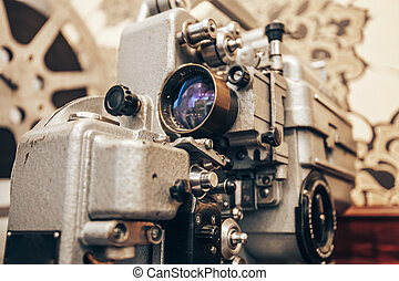vintage metal film projector
