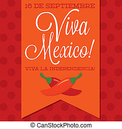 Retro style Viva Mexico (Mexican Independence Day) card in...