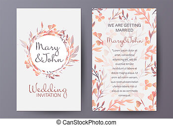 Retro style wedding invitation template decorated with natural autumn pattern