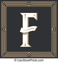 Retro style. Western letter design. Letter F