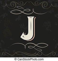 Retro style. Western letter design. Letter J