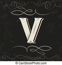 Retro style. Western letter design. Letter V