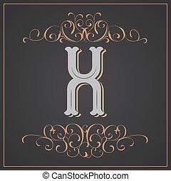 Retro style. Western letter design. Letter X