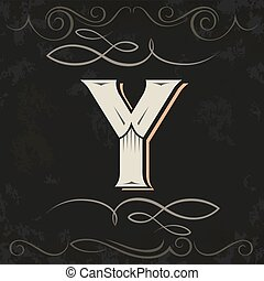 Retro style. Western letter design. Letter Y