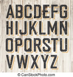 Retro Styled Alphabet on Wooden Background