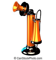 Retro-styled candlestick phone - Orange shiny Candlestick...