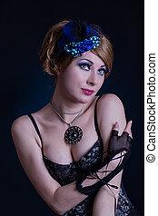 retro-styled, donna, in, cabaret, equipaggiamento
