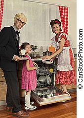 Retro styled family in a kitchen.