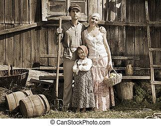 Retro styled family portrait. Monochrome, grunge textures, ...