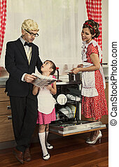 Retro styled family reading newspaper