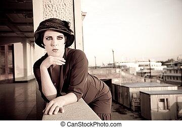 Retro Styled - Fashion retro styled woman portrait