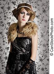 Retro styled fashion woman portrait