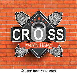 Retro styled fitness emblem. - Retro styled fitness emblem, ...