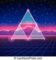 Retro styled futuristic landscape with triangles and shiny...