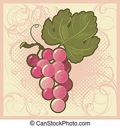 Retro-styled grape bunch - Retro-styled pink grape bunch....
