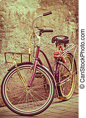 Retro styled image of a colorful bicycle