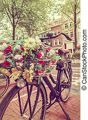 Retro styled image of a Dutch bicycle in Amsterdam